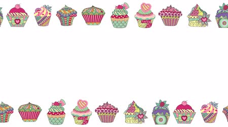 muffin : 2d animation of colorful abstract cupcakes on white background Stock Footage