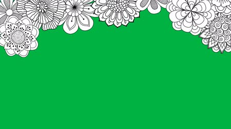 čmáranice : Black and white flowers falling on green screen. 2d animation