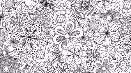 čmáranice : Black and white flowers spinning for background. 2d animation
