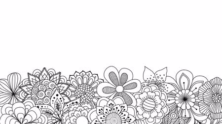 Black and white doodle flowers spinning in the bottom with the copy space. 2d animation Стоковые видеозаписи