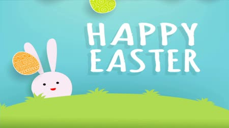 2d Animation of cute bunny and easter eggs.