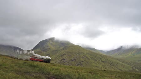 Snowdon train in Snowdonia national park, Wales, north England, United Kingdom in 2018 Стоковые видеозаписи