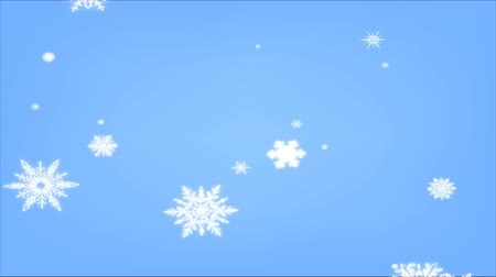 glowing snowflakes falling on blue background