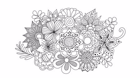 čmáranice : Vectorial line drawing of beautiful flowers bloom and appear into bouquet for background