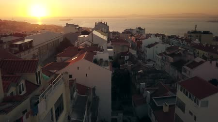 alfama : Lisbon Portugal Aerial footage of city landscape. 4K