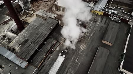 cooling : Aerial view from drone on the industrial factory. Stock Footage