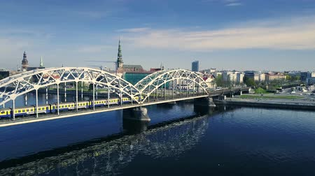 riga : Aerial view of Daugava river in Riga day time. City landscape view from the air. Stock Footage