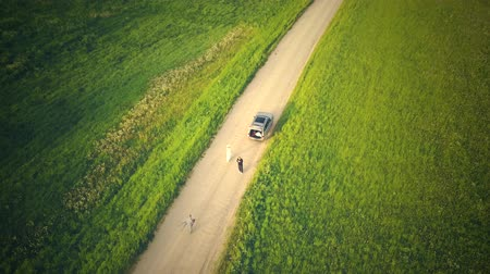 Латвия : Top View From Drone On The Car On Countryside Road.