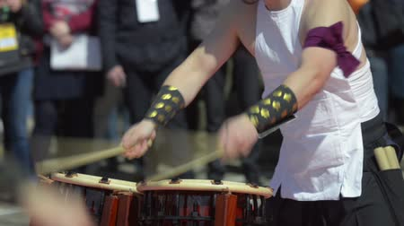 gagaku : Japanese artist playing on traditional taiko drums Stock Footage