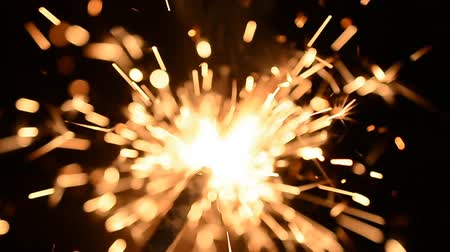 Бенгалия : Christmas sparkler burning on a black background hd slow motion footage