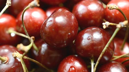 macro : Ripe sweet cherry Stock Footage