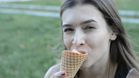 шишка : portrait a woman with ice cream