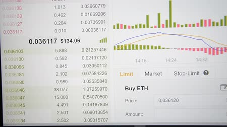 financieel : Online citaten uitwisselen Cryptocurrency grafiek online hd-beelden Stockvideo