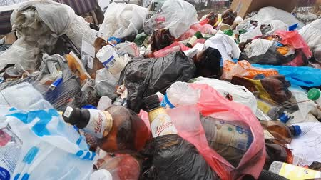 descuidado : Minsk, Belarus - March 5, 2019: Close up view garbage dump in forest, Plastic bottles and bags pollution hd fuutage