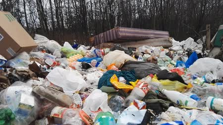 отходы : Minsk, Belarus - March 5, 2019: Forest garbage dump landscape hd footage