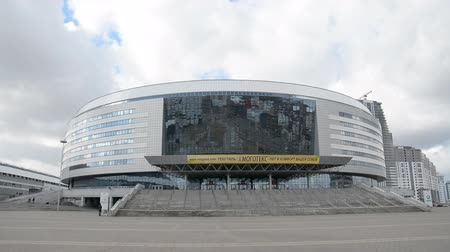 ismert : MINSK, BELARUS - MARCH, 19, 2019: Winter sports complex known as Minsk Arena city landscape stock footage.