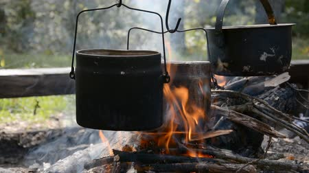 piknik : three camping pots hanging over an open fire, preparing delicious food on a picnic hd stock footage