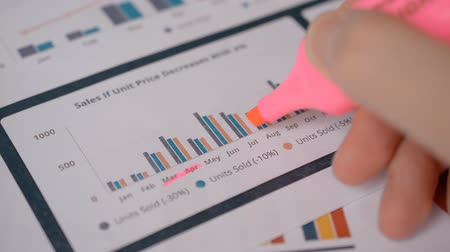 liste : The manager analyzes the statistics of sales of goods by month, the schedule and diagram of the sales department, signing pink marker good months