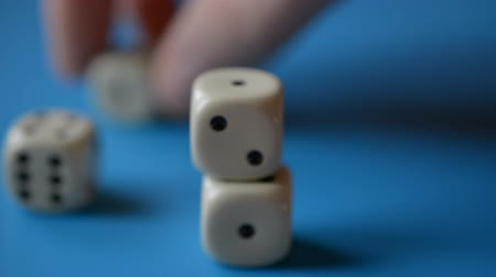 удачливый : Risk game abstract, Putting game dice in column hd stock footage Стоковые видеозаписи