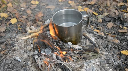 Metal mug with water on the fire, Dinner or lunch at camp, hd stock footage
