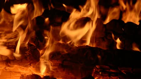 сжигать : fire flame on a night background hd stock footage
