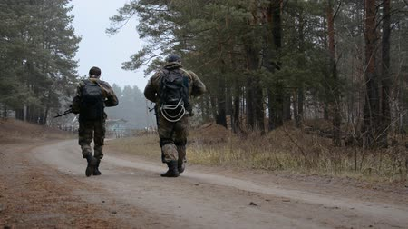two armed men in military clothes and kalashniklva walk along a forest road, view from the back