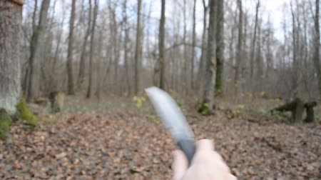 нападение : Assault with a knife first-person view, hd stock footage
