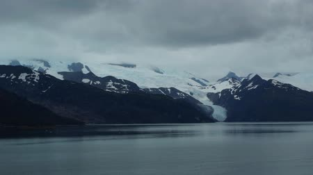 greater : Chile Fjords passing with Cruise Ship between the Glaciers Stock Footage