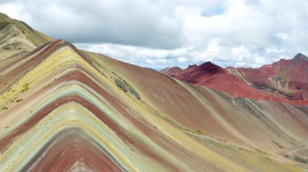 wandering : Rainbow Mountain in the Mountains Stock Footage