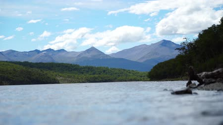 ferryboat : Ushuaia Landscapes and Lakes in Argentina Stock Footage