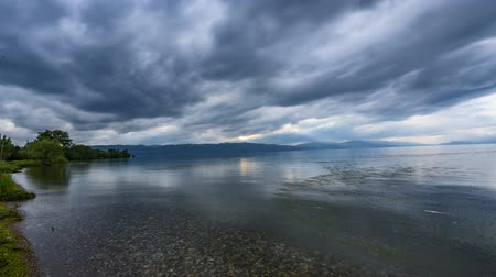 ohrid : Lake Ohrid Timelapse with Clouds and Plants movement over the Lake
