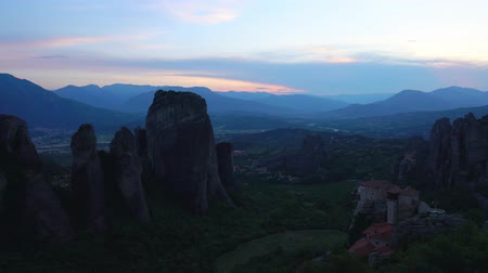 Meteora Beautiful Stone shapes and Mountains with Monastery on them