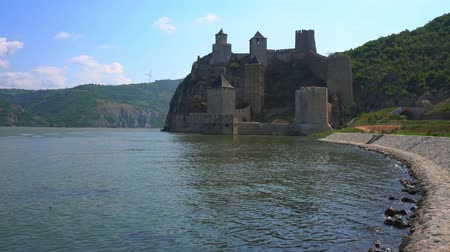 Old medieval fortress Golubac, Serbia Stock Footage
