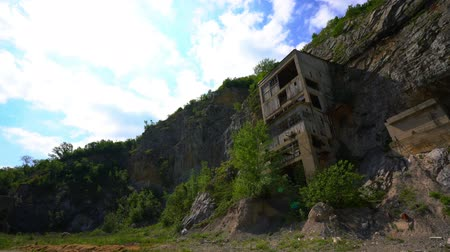 Old medieval fortress Golubac other side abandoned bulding from old mine, Serbia