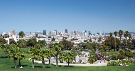 greater : Dolores Park, San Francisco. The urban Dolores Park with stunning view of the San Francisco skyline in the distance. Stock Footage