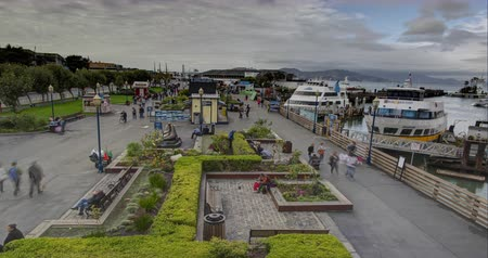 Fishermans Wharf. Time Lapse view overlooking the #! tourist destination in San Francisco.