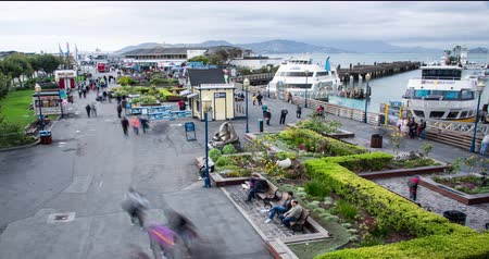 Fishermans Wharf. Time Lapse view overlooking the #! tourist destination in San Francisco. Zoom Out. Stock Footage