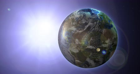 greater : Loopable Rotating Earth with the sun in the background. Purple Hue and Lens Flare.