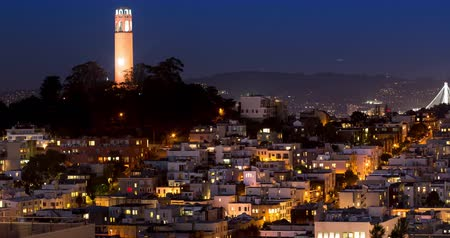 Coit Tower at night, North Beach, San Francisco.