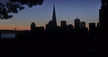 greater : Spectacular San Francisco Sunrise. Panoramic View of Downtown San Francisco. Stock Footage