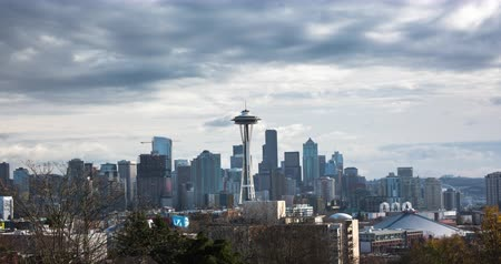 Classic Seattle Skyline with Cloudscape. Filmed from Queen Anns Hill. Stock Footage