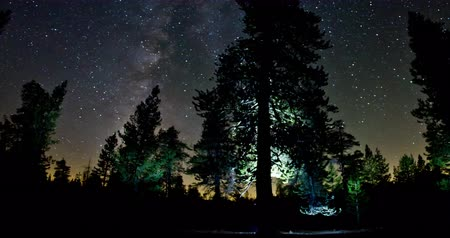 mroczne : Stargazing the Milky Way under Dark Night Sky. Filmed in Sierra Nevada Mountains, California. Wideo