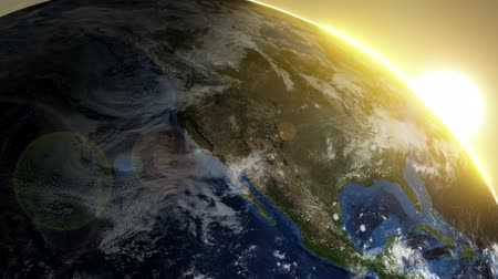 Észak amerika : Rotating Earth with Sunrise. Image over North America. Stock mozgókép