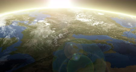 mapa : Rotating Earth with Sunrise Horizon. Aerial Above the European Continent. Wideo