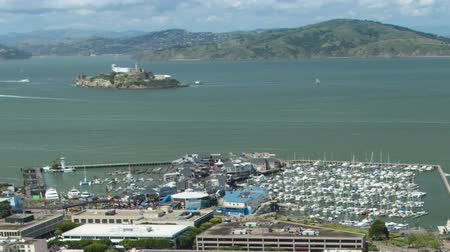 Fishermans Wharf and Alcatraz Aerial View. Panning.