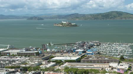 Fishermans Wharf and Alcatraz Aerial View