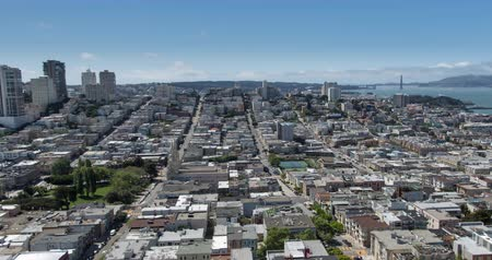 San Francisco Aerial View towards Russian Hill and the Golden Gate Bridge. Zoom out. Stock Footage