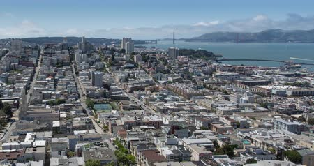 San Francisco Aerial View towards Russian Hill and the Golden Gate Bridge