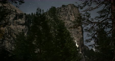 Yosemite Night Landscape. A Moonlit Time Lapse of Climbers Scaling North Dome.