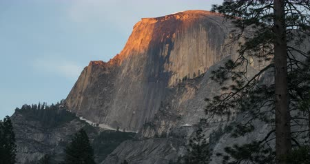 Half Dome Sunset. Close-up time lapse of Yosemites Iconic Mountain Peak.